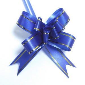 Dark Blue/Gold Polyester Flower Drawstring Pull Bows 70mm Pack Of 10 YH1195