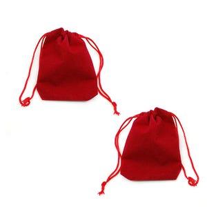 Red Velvet Rectangular Pouch Drawstring Gift Bags 5.5cm x 7cm Pack Of 10 YH1295