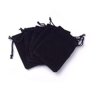 Black Velvet Rectangular Pouch Drawstring Gift Bags 5.5cm x 7cm Pack Of 10 YH1300