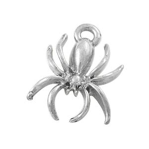 Antique Silver Tibetan Zinc Spider Charms 18mm Pack Of 10 ZX00105