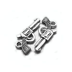 Antique Silver Tibetan Zinc Gun Charms 22mm Pack Of 15 ZX00110