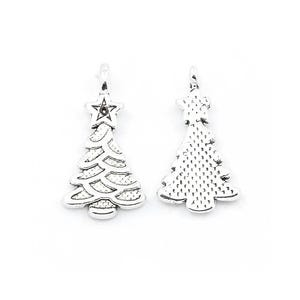 Antique Silver Tibetan Zinc Christmas Tree Charms 21mm Pack Of 10 ZX00120