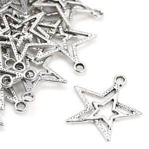 Antique Silver Tibetan Zinc Star Charms 23mm Pack Of 20 ZX00145
