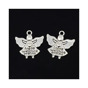 Antique Silver Tibetan Zinc Angels Watching Over Charms 19mm Pack Of 30 ZX00165