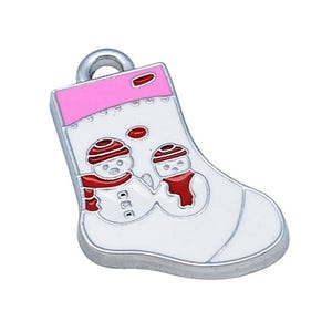 White/Pink Enamel & Alloy Christmas Stocking Pendants 26mm Pack Of 10 ZX00360