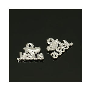 Silver Tibetan Zinc I Love Jesus Charms 15mm Pack Of 30 ZX00415
