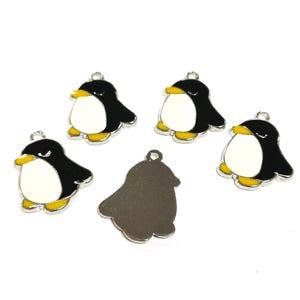 Black/White Enamel & Alloy Penguin Charms 22mm Pack Of 5 ZX00485