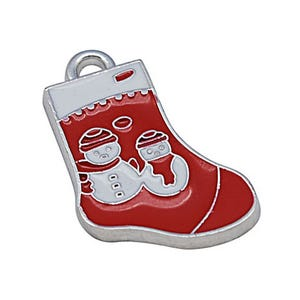 Red/White Enamel & Alloy Christmas Stocking Pendants 26mm Pack Of 10 ZX00545