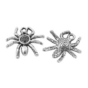 Antique Silver Tibetan Zinc Spider Charms 19mm Pack Of 15 ZX00730