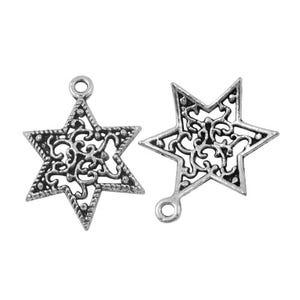 Antique Silver Tibetan Zinc Star Charms 23mm Pack Of 10 ZX00760