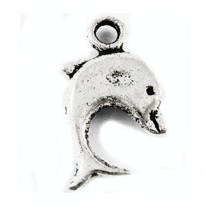 Antique Silver Tibetan Zinc Dolphin Charms 16mm Pack Of 30 ZX00855