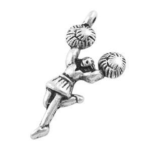 Antique Silver Tibetan Zinc Cheerleader Pendants 29mm Pack Of 10 ZX00870