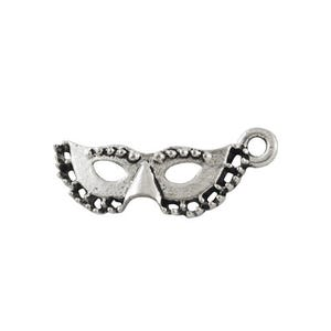 Antique Silver Tibetan Zinc Masquerade Mask Charms 21mm Pack Of 22 ZX01050