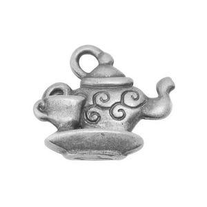 Antique Silver Tibetan Zinc Tea Pot Charms 13mm Pack Of 20 ZX01285