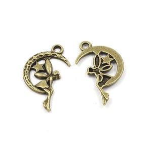Antique Bronze Tibetan Zinc Moon & Fairy Pagan Pendants 25mm Pack Of 20 ZX01320