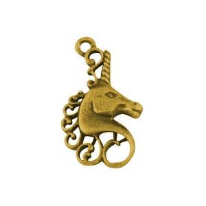 Antique Gold Tibetan Zinc Unicorn Pendants 27mm Pack Of 10 ZX01360