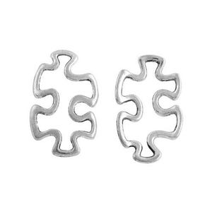 Antique Silver Tibetan Zinc Jigsaw Pendants 30mm Pack Of 10 ZX01525
