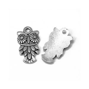 Antique Silver Tibetan Zinc Owl Charms 20mm Pack Of 15 ZX01625
