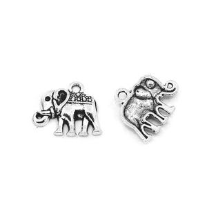 Antique Silver Tibetan Zinc Elephant Charms 17mm Pack Of 30 ZX01910