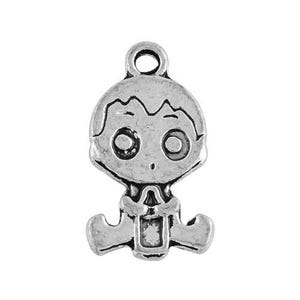 Antique Silver Tibetan Zinc Baby Charms 24mm Pack Of 10 ZX02085