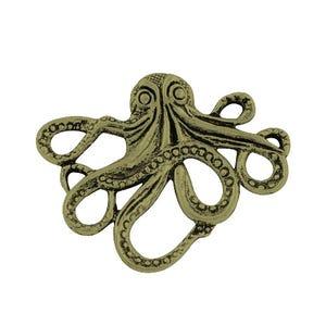 Steampunk Antique Bronze Tibetan Zinc Octopus Pendants 43mm Pack Of 2 ZX02440