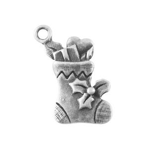 Antique Silver Tibetan Zinc Christmas Stocking Charms 21mm Pack Of 10 ZX02545