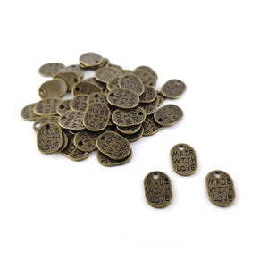 Steampunk Bronze Tibetan Zinc Made With Love Charms 11mm Pack Of 50+ ZX02755