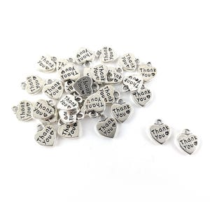 Antique Silver Tibetan Zinc Thank You Charms 12mm Pack Of 30 ZX02790