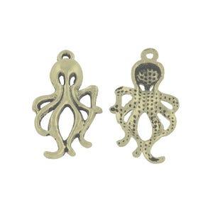 Steampunk Antique Bronze Tibetan Zinc Octopus Pendants 31mm Pack Of 10 ZX02815
