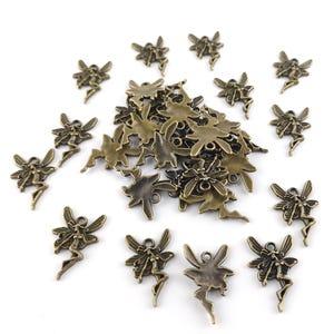 Steampunk Antique Bronze Tibetan Zinc Fairy Charms 20mm Pack Of 30 ZX02945