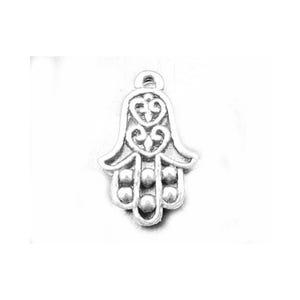 Antique Silver Tibetan Zinc Hamsa Hand Of Fatima Charms 22mm Pack Of 10 ZX03315