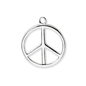 Antique Silver Tibetan Zinc Peace Sign Charms 24mm Pack Of 5 ZX03385