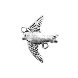 Antique Silver Tibetan Zinc Dove Charms 16mm Pack Of 10 ZX03400