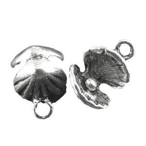 Antique Silver Tibetan Zinc Shell Charms 15mm Pack Of 8 ZX03410