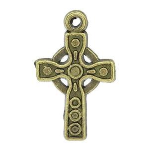 Steampunk Bronze Tibetan Zinc Celtic Cross Pagan Pendants 26mm Pack Of 10 ZX03490