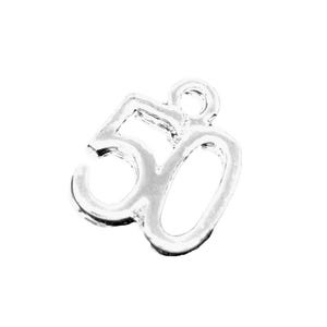 Silver Tibetan Zinc Number 50 Charms 12mm Pack Of 5 ZX03525