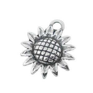 Antique Silver Acrylic Sunflower Charms 16mm Pack Of 20 ZX03600