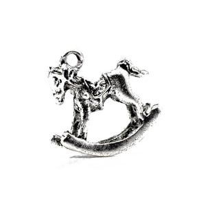 Antique Silver Tibetan Zinc Rocking Horse Charms 15mm Pack Of 10 ZX03675