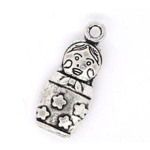 Antique Silver Tibetan Zinc Russian Doll Charms 22mm Pack Of 3 ZX03695