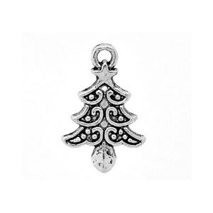 Antique Silver Tibetan Zinc Christmas Tree Charms 21mm Pack Of 5 ZX03715