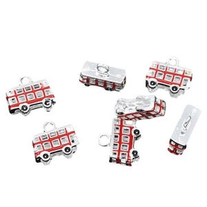 Red Enamel & Alloy Bus Charms 17mm Pack Of 5 ZX03780