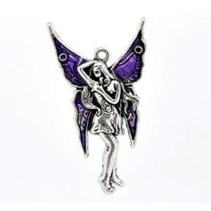 Purple/Antique Silver Enamel & Alloy Fairy Pendant 48mm  ZX03860