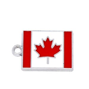 Red/White Enamel & Alloy Flag Of Canada Charm 22mm  ZX03975