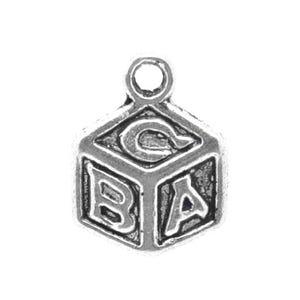 Antique Silver Tibetan Zinc Abc Block Charms 13mm Pack Of 15 ZX04005