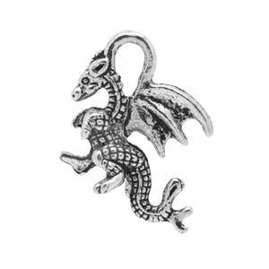 Antique Silver Tibetan Zinc Dragon Charms 21mm Pack Of 10 ZX04090