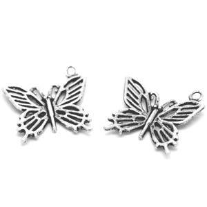 Antique Silver Tibetan Zinc Butterfly Charms 20mm Pack Of 10 ZX04205