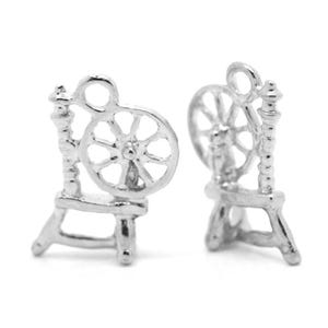 Antique Silver Tibetan Zinc Spinning Wheel Charms 18mm Pack Of 5 ZX04265
