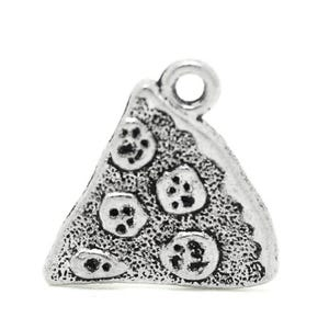 Antique Silver Tibetan Zinc Pizza Charms 20mm Pack Of 8 ZX04290
