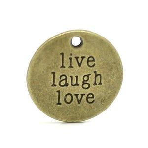 Steampunk Bronze Tibetan Zinc Live Laugh Love Charms 20mm Pack Of 5 ZX04315