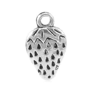 Antique Silver Tibetan Zinc Strawberry Charms 17mm Pack Of 10 ZX04420